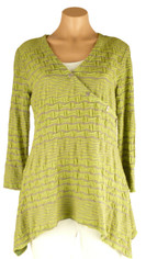 Tianello Textured Tunic in Green and Taupe