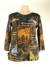 Laurel Burch 'Romping Cats' Cotton Tee
