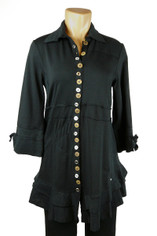 Neon Buddha Journey Button Front Tunic in Black
