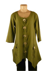 CMC Cotton Amy Tunic in Basil by Color Me Cotton