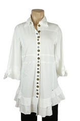 Neon Buddha Detailed Buttons Journey Tunic in White