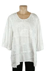 Embroidered Finest Cotton Top in White by Tianello