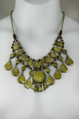 Tribal Style Pale Green Jasper Necklace
