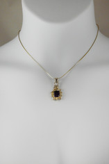 Amethyst Emerald Cut Filagree Pendant Necklace