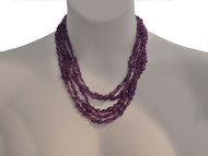 Multi Strand Amethyst Polished Ovals Necklace