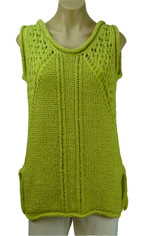 Handknit Textured Pullover in Lime by Pure