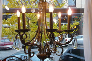 Tuscan Style Chandelier with Large Crystal Pendants