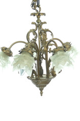 Ornate Vintage Petite Chandelier with Frosted Petal Glass Shades