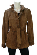Suede Wrap Jacket in Pecan Brown