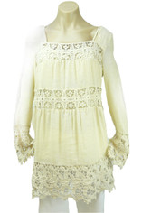 Ivory Lace and Linen Top