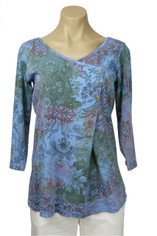 Color Me Cotton Moroccan Print Top in Periwinkle 2X