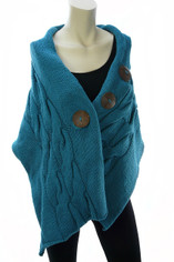 Cable Knit Cotton Wrap Shawl in Teal Blue
