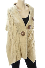 Cable Knit Cotton Wrap Shawl in Natural Khaki