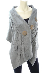 Cable Knit Cotton Wrap Shawl in Charcoal Gray