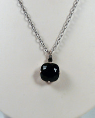 La Vie Parisienne Large Crystal Drop Necklace Silver Chain Jet Black