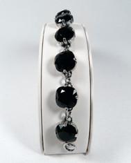 La Vie Parisienne Silver 9 Stone Sparkling Cyrstal Bracelet in Jet Black
