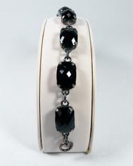 La Vie Parisienne Silver 7 Stone Cushion Cut Cyrstal Bracelet in Jet Black