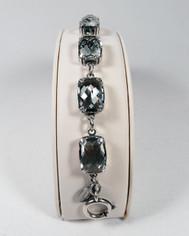 La Vie Parisienne Silver 7 Stone Cushion Cut Cyrstal Bracelet in Shade
