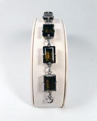 La Vie Parisienne Silver 7 Stone Emerald Cut Cyrstal Bracelet in Brown Topaz