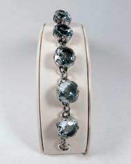 La Vie Parisienne Silver 9 Stone Sparkling Cyrstal Bracelet in Ice Blue