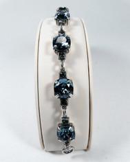 La Vie Parisienne Silver Sparking 7 Stone Cyrstal Bracelet in Midnight Blue