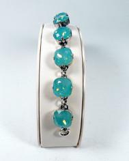 La Vie Parisienne Silver 9 Stone Sparkling Cyrstal Bracelet in Pacific Opal