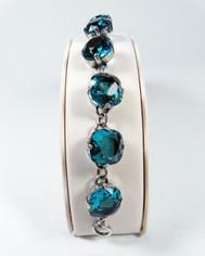 La Vie Parisienne Silver 9 Stone Sparkling Cyrstal Bracelet in Teal