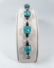 La Vie Parisienne Silver Sparking 7 Stone Cyrstal Bracelet in Pacific Opal