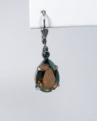 La Vie Parisienne Pear Shape Drop Earrings Brown Crystal