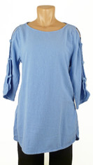 Open Sleeve Cotton Pullover Periwinkle