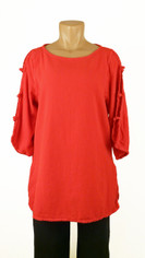 Open Sleeve Cotton Pullover Red