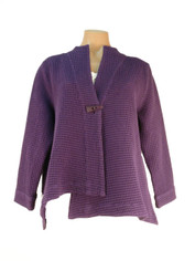 Focus Waffle One Button Wrap Jacket in Purple