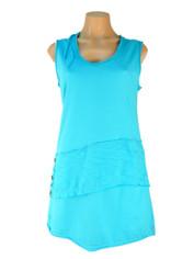 Neon Buddha Sleeveless Journey Top Tunic Aqua Blue