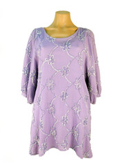 Cotton Embroidered Tunic in Lilac by Tianello