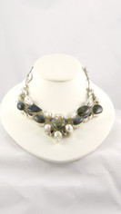 Labradorite Teardrop White Pearls and Amethyst Necklace