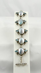 Stunning Mother of Pearl and Blue Topaz Bracelet
