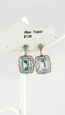Delicate Vintage Style Blue Topaz Earrings