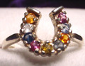 Montana sapphire 9 stone horseshoe ring multi color