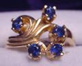 Montana Yogo Sapphire 5 Stone Fleur Ring