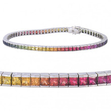 Rainbow Sapphire Multi Color Bracelet 14K white gold and sterling silver