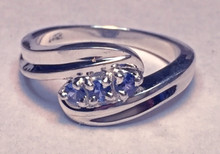 Montana Yogo Sapphire 3 Stone Swirl Bypass Ring Sterling Silver