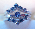 Montana Yogo Sapphire Ring Guard Wrap - Two 5 stone V Rings shown with 3mm 4 prong Yogo sapphire ring