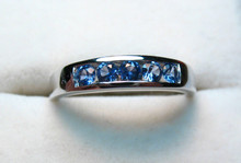 Montana Yogo Sapphire 5 Stone Channel Set Ring 14K White gold