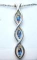 Montana Yogo Sapphire 3 Stone Marquise Pendant