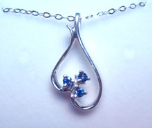Montana Yogo Sapphire 3 Stone Inverted Heart Sterling Silver Pendant