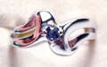 Montana Yogo Sapphire Solitaire Bypass Ring Sterling Silver