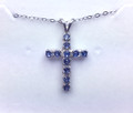 Montana Yogo Sapphire 11 Stone Cross Pendant Blue Sterling Silver
