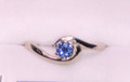 Montana Yogo Sapphire Bypass Crescent  Ring 14K White Gold