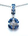 Montana Yogo Sapphire & Diamond Pendant 14K White Gold