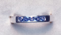 Montana Yogo Sapphire 5 Stone Channel Set Band Sterling Silver Ring